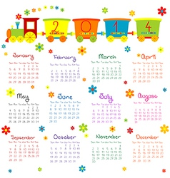 2014 train kids calendar vector