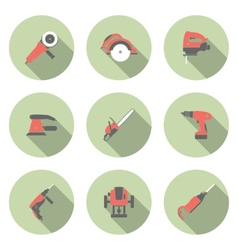 Electric tool flat icons set vector