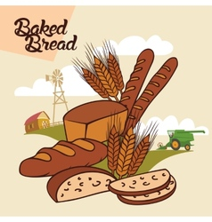 Baked bread advertising vector