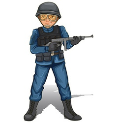 A soldier with a gun vector