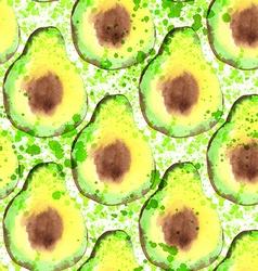Avocado fruit - watercolor seamless pattern vector