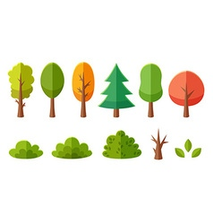Isolated cartoon trees collection vector