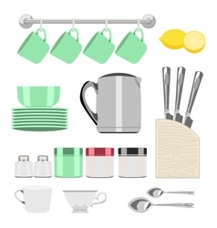 Set of objects for tea vector