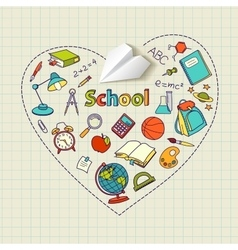 Paper plane and school doodle heart-shaped vector image