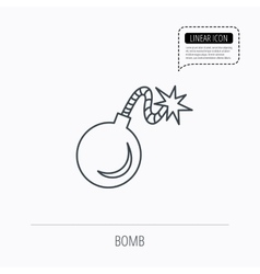 Retro bomb icon boom explode sign vector