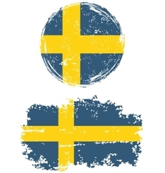 Swedish round and square grunge flags vector