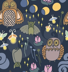 Night creatures seamless pattern vector