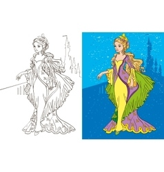 Colouring book of princess and castle vector