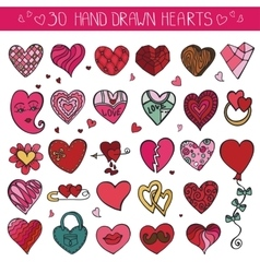 Hearts hand drawing doodle setcolored decoration vector