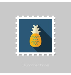Pineapple flat stamp summer vacation vector