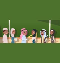 Arab school children group pupils standing in vector