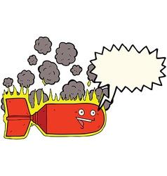 Cartoon falling bomb with speech bubble vector