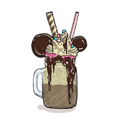 Cartoon style milkshake with cookies chocolate ice vector
