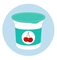 cherry yogurt in plastic cup milk cream product vector image vector image