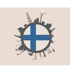Circle with industrial silhouettes finland flag vector