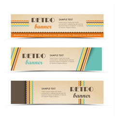 collection retro horizontal banners with colored vector image