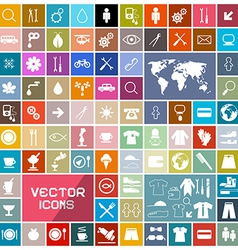 Colorful Squares Flat Icons Set vector image