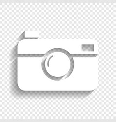 Digital photo camera sign white icon with vector