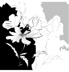 floral monochrome background vector image