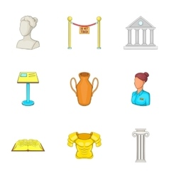 Gallery in museum icons set cartoon style vector