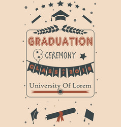 graduation ceremony announcement class of 2018 vector image