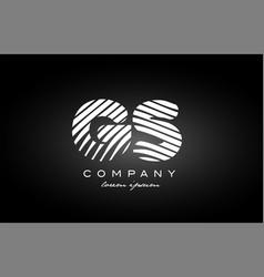 Gs g s letter alphabet logo black white icon vector