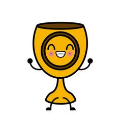 Holy chalice isolated cute kawaii cartoon vector