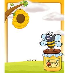 Honey bee and bottle vector image