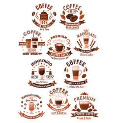 Icons coffee set for cafeteria or cafe vector