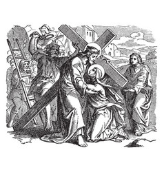 Jesus carrying the cross on the way to calvary vector