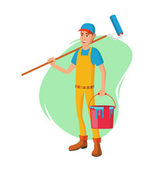 male house painter classic paintbrush vector image vector image