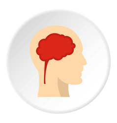 man head silhouette with brain inside icon circle vector image vector image