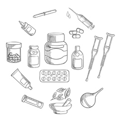 Medicine and pharmacy sketch icon vector image