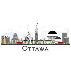 Ottawa canada city skyline with gray buildings vector