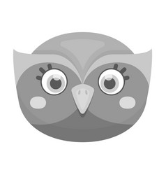 owl muzzle icon in monochrome style isolated on vector image vector image