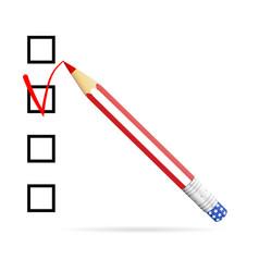 Pencil drawing check mark in check box us vector