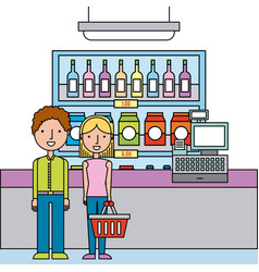 people in supermarket shopping interior cash vector image
