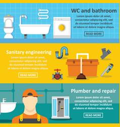 plumbing service banner horizontal set flat style vector image vector image