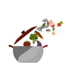 Pot with healthy food isolated icon vector