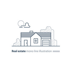 real estate linear icon low house property vector image vector image