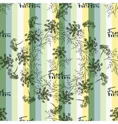 Seamless pattern drawing dill or fennel and text vector