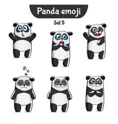 set of cute panda characters set 5 vector image