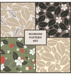 Set of four leaves seamless pattern vector image