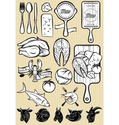 Set of patterns of different types meat vector