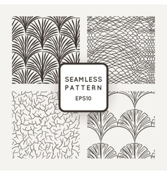 Set of seamless patterns a hand scales vector