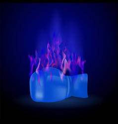 sport burning blue glove with fire flame vector image vector image