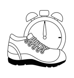 Sport shoe tennis with chronometer vector