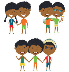 Summer african-american people standing and vector