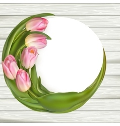 Tulips over wooden table background EPS 10 vector image