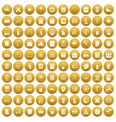 100 school icons set gold vector image